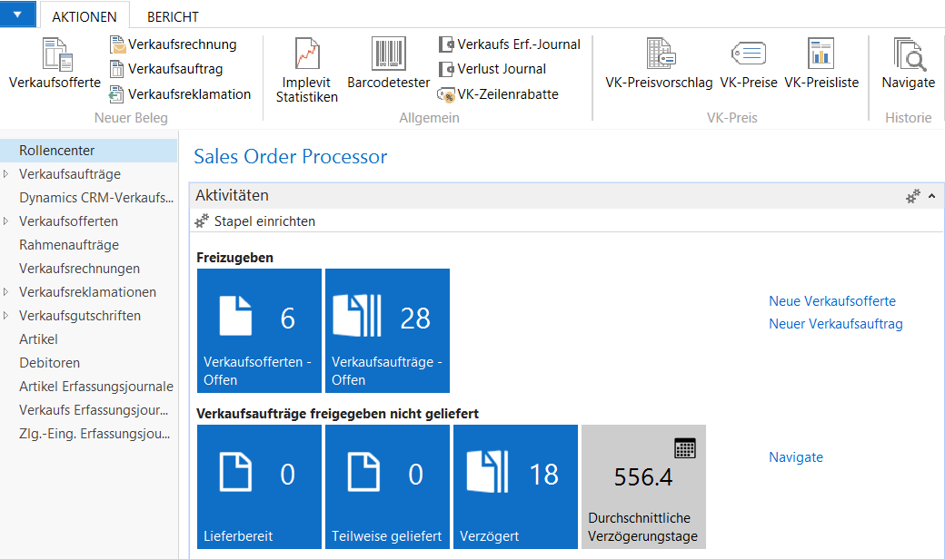 Screenshot Microsoft Dynamics NAV Rollencenter